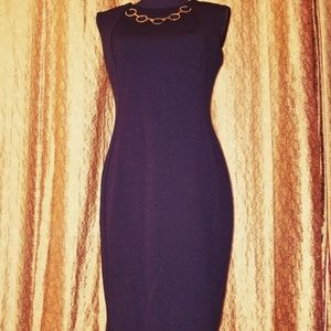 Calvin Klein Black Sheath Dress w/Necklace